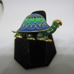 Jewelry - Turtle with Green Blue Color Brooch